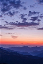 Mountains, sky, clouds, sunset iPhone Wallpaper