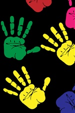 Multi Colors hands prints iPhone wallpaper