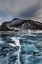 Olkhon Island, lake, ice, trees, winter, Russia iPhone wallpaper