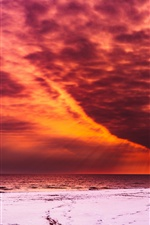 Red sky, clouds, sunset, sea iPhone wallpaper
