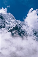 Thick clouds, snow mountain iPhone wallpaper