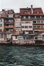 Thun, Switzerland, town, river, houses iPhone wallpaper