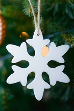 White snowflake, Christmas decoration iPhone wallpaper