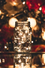 Glass jar, lights, bright iPhone wallpaper