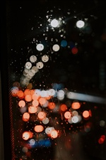 Glass, surface, water droplets, light circles, night iPhone wallpaper