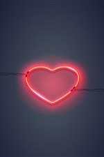 Neon light love heart iPhone Wallpaper