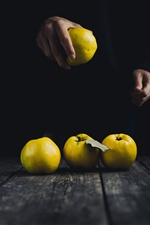 Yellow apples, hands iPhone Wallpaper