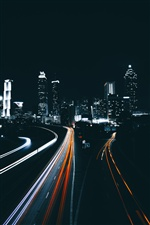Atlanta, city, night, road, lights, USA iPhone wallpaper