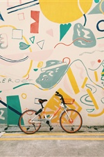 Bike, wall, painting iPhone Wallpaper