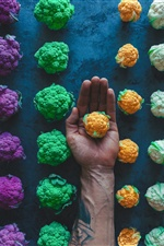 Colorful cauliflower, hand iPhone wallpaper
