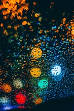 Colorful light circles, glass surface, water droplets iPhone wallpaper