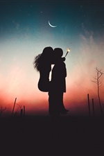 Couple, kiss, fireworks, moon, dusk, silhouettes iPhone wallpaper