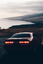 Dodge car rear view, dusk iPhone wallpaper