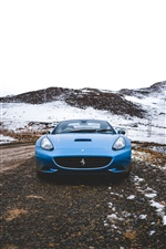 Ferrari blue sport car front view iPhone wallpaper