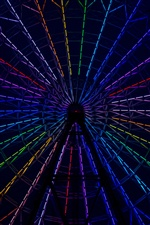 Ferris wheel, rainbow color lights iPhone wallpaper