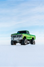 Ford green pickup, snow iPhone Wallpaper