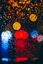 Glass, water droplets, colorful light circles iPhone wallpaper