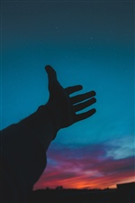 Hand, night, sky, silhouette iPhone wallpaper