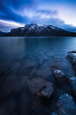 Lake Minnewanka, Canada, stones, mountain iPhone Wallpaper