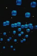 Many blue cubes, lights iPhone wallpaper
