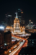 Moscow, city night, roads, lights, Russia iPhone wallpaper