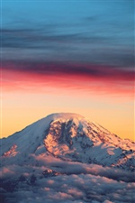 Mountain, snow, clouds, dusk, sunset iPhone wallpaper