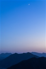 Mountains, blue sky, morning iPhone wallpaper