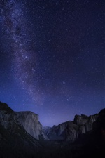 Mountains, starry, night, sky iPhone wallpaper