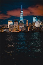 New York, skyscrapers, sea, night, lights, USA iPhone wallpaper