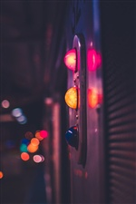 Night, lamps, colorful, city iPhone wallpaper