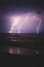 Night, lightning, sea, clouds iPhone Wallpaper