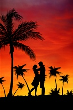 Palm trees, couple, love, sunset iPhone wallpaper