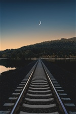 Railway, dusk, river iPhone wallpaper