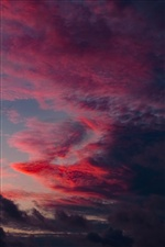 Red clouds, sunset, sky iPhone wallpaper