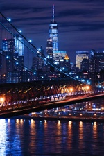 USA, Williamsburg, bridge, lights, city night iPhone wallpaper