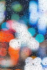 Water droplets, glass, surface, glare iPhone Wallpaper