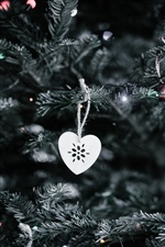 White love heart, Christmas tree iPhone wallpaper