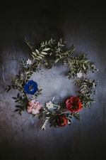 Wreath, flowers, blue, pink, red iPhone wallpaper