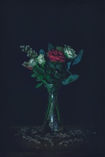 Bouquet, rose, vase, darkness iPhone wallpaper
