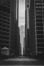 City, skyscrapers, road, black and white iPhone wallpaper