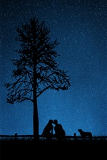 Couple, kiss, tree, night, starry, silhouettes iPhone Wallpaper