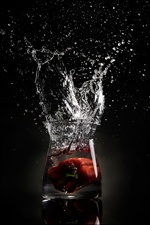 Glass cup, water splash, black background iPhone Wallpaper