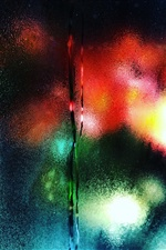 Glass surface, water droplets, colorful backlight iPhone wallpaper