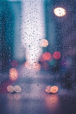 Glass surface, water droplets, light iPhone wallpaper