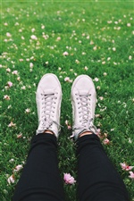 Legs, shoes, grass, flowers iPhone wallpaper