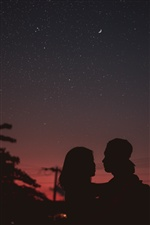 Lovers, silhouettes, night, moon iPhone wallpaper