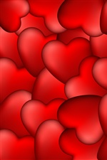 Many red love hearts iPhone wallpaper