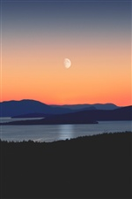 Mountains, river, moon, evening iPhone wallpaper