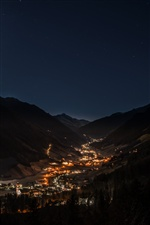 Night, mountains, valley, city, lights iPhone wallpaper