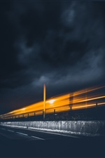 Night, railroad, train, speed, light iPhone Wallpaper